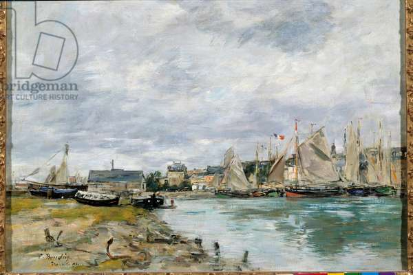 The port of Trouville. Painting by Eugene Louis Boudin (1824-1898), 1891. Oil on canvas. Dim: 0.41 X 0.55m. Paris, Musee Du Louvre