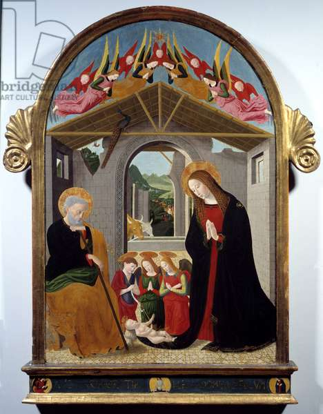 The nativity. Painting by Esiguo Maestro (15th century). Oil on canvas. Dim: 0.88 x 0.57m. Rouen, Museum of Fine Arts