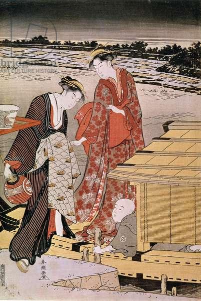 Twilight on Sumida River Japanese print by Shunsho Katsukawa (active 1780 - 1795), 1781-1789. Dim. 0,37x0,25m. Paris, Guimet Museum, National Museum of Asian Arts