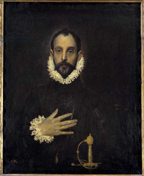 Portrait of a gentleman with a hand on the chest Painting by Domenikos Theotokopoulos dit El Greco (1540-1614). 1577 Sun. 0,81 x 0,66 m Madrid Musee du Prado