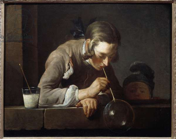 The soap bubble blower Painting by Jean Baptiste Simeon Chardin (1699-1779) 18th century New York, metropolitan museum - Soap bubbles - Painting by Jean Baptiste Simeon Chardin (1699-1779), oil on canvas, c. 1733-1734 - Metropolitan Museum, New York, USA