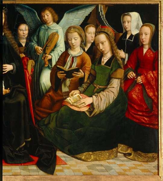 The Virgin among the saints. Detail of the Saintes: Saint Apolline (or Apollonia), Saint Godeline, Saint Cecile, Saint Barbe, Saint Lucia. Painting by Gerard David (1460-1523), 1509. Rouen, Museum of Fine Arts