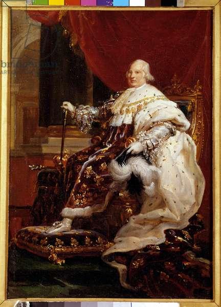 Portrait en pied de Louis XVIII (1755-1824) en costume de corre Painting by Francois Gerard (1770-1837) 1814 Sun. 0,32 x 0,23 m  - Full-length portrait of Louis XVIII (1755-1824) in coronation robes. Painting by Francois Gerard (1770-1837), 1814. 0.32 x 0.23 m.