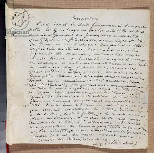 "Manuscript of the poem """" Promonttoire"""" by Arthur Rimbaud, 19th century. Charleville, Musee Rimbaud"