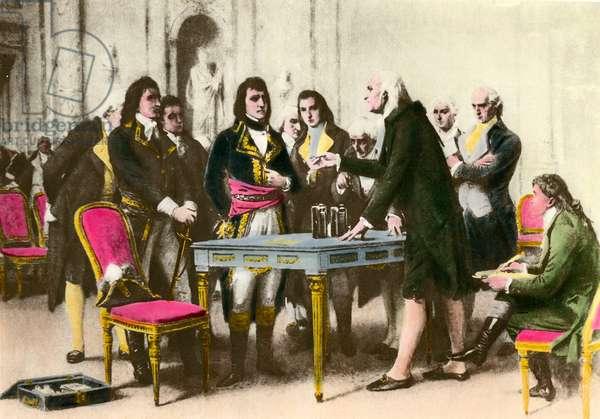 The Italian physicist Alessandro (Alexandre) Volta (1745-1827) presents his pile to Napoleon Bonaparte. 1801 Private collection