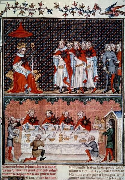 "Institution of the Ordre de l'Etoile by Jean le Bon (1319-1364) and banquet in 1352 Miniature from """" Les grandes chronicles de France"""" by Jean Fouquet (1420-1481) 1455-1460 Paris, B.N."