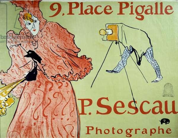 Advertising for photographer P. Sescau, 9 Place Pigalle in Montmartre. Poster by Henri De Toulouse Lautrec (1864-1901), 1896. Dim: 1,54 x 1,18m. Paris, Musee de l'poster et de la publicite - Advertisement for the photographer P. Sescau, 9 Place Pigalle, Montmartre. Poster created by Henri de Toulouse Lautrec (1864-1901), 1896. Dim: 1.54 x 1.18 m. Museum of Advertising, Paris