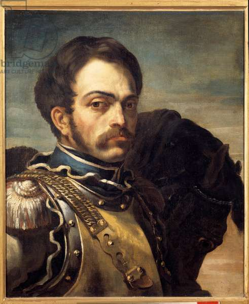Portrait of a carabinieri officer. Painting by Theodore Gericault (1791-1824), 19th century. Oil on canvas. Dim: 0.64 x 0.54m. Rouen, Museum of Fine Arts