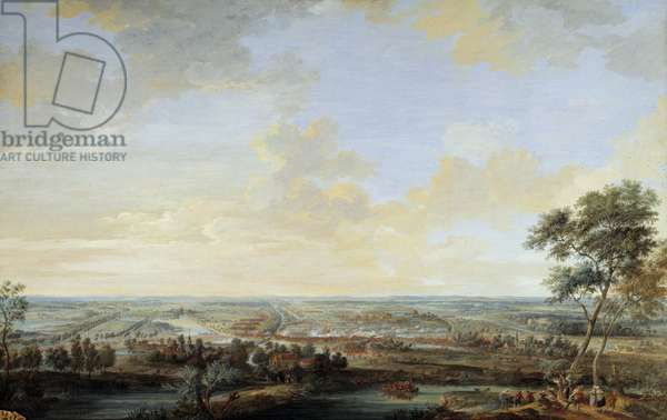 """War of the Austrian Succession (1741-1748): """""""" Battle of Melle won by the Viscount of Chayla, July 9, 1745"""""""" Gouache by Louis Nicolas Van Blarenberghe (1716-1794), 1784. Sun 0,59x0,94 m Versailles, musee du chateau"""