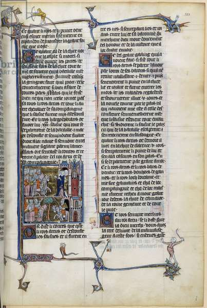 """King Arthur and his knights Page of the manuscript """"Histoire de Merlin"""""""" by the Master of Fauvel 14th century Paris, B.N"""