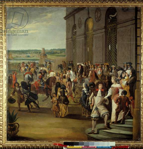 Louis XIV followed by the Grand Dauphin riding in front of the cave of Thetis (Thetys) in Versailles King Louis XIV (1638-1715) and his son Louis of France called the Grand Dauphin (1661-1711) in front of the cave of Thetis (Thetys) surrounded by courtiers - On the steps, the dolphine Marie Anne Christine de Baviere (1660-1690) accompanied by son, Louis of France ( 1682-1712) - Painting of the French school, circa 1684 - Dim 0.96 x 0.96 m Versailles, castles of Versailles and Trianon