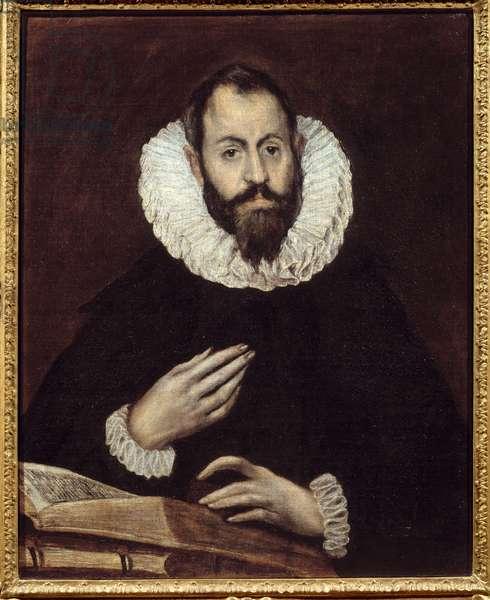 Man portrait. Painting by Domenikos Theotokopoulos dit El Greco (1541-1614), circa 1600-1610. Oil on canvas. Amiens, Musee De Picardie - Portrait of a man. Painting by Domenikos Theotokopoulos called El Greco (1541-1614), circa 1600-1610. Oil on canvas. Picardie Museum, Amiens, France