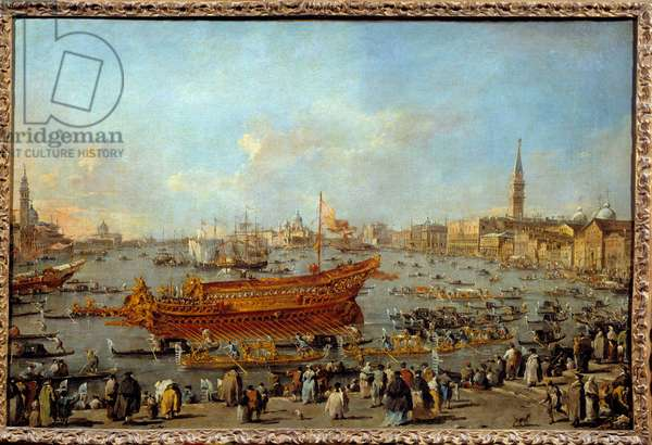 The departure of the Bucentaur (Bucentoro) towards the Lido of Venice on Ascension Day Painting by Francesco Guardi (1712-1793) 1766-1770 Sun. 0,66x1,01 m  - The departure of the Bucentaur (Bucentoro) to the Venice's Lido for the Ascension Day ceremony. Painting by Francesco Guardi (1712-1793), 1766-1770. 0.66 x1.01 m. Louvre Museum, Paris
