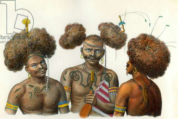 People of the Oceanian Continent: Natural of New Guinee. Engraving of the 18th century. Private collection.