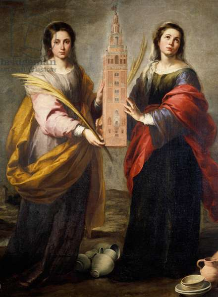 Saints Juste and Rufine (or Ruffine) Patronesses of the city of Seville, they carry the Giralda, the former minaret of the Great Mosquee which has become from the bell tower of the Cathedral of Seville - Painting by Bartolome Murillo (1618-1682) around 1665-1666, 200 x 176 cm - Seville, Museum of Fine Arts - Saints Justa and Rufina (or Ruffina), Holy patronesses of the city of Seville carrying the Giralda, the ancient minaret of the Great Mosque, nowadays the bell tower of the Cathedral of Seville - Painting by Bartolome Murillo (1618-1682) circa 1665-1666, 200 x 176 cm - Museum of Fine Arts, Seville, Spain