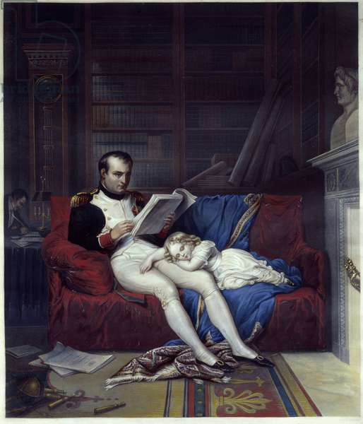 Portrait of Emperor Napoleon I (1769-1821) and his son King of Rome Napoleon II, Duke of Reichstadt (1811-1832) slept on his lap. Engraving of the 19th century Malmaison, musee du chateau