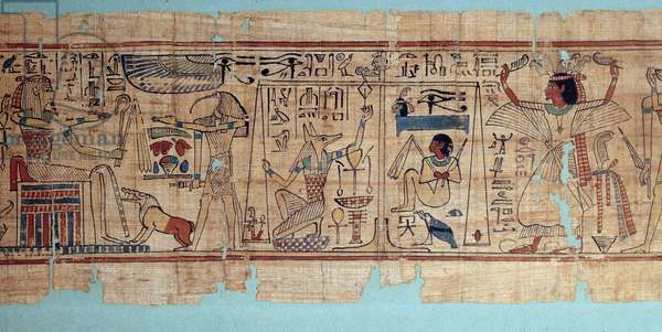 Egyptian antiquite: detail of the mythological papyrus of Neskapashouty, accountant scribe of the grains of Amon's attic. Anubis weighs the heart (soul) of the deceased. 21st dynasty, 1069-945 BC. Sun 2,7x0,19 m Paris, musee du Louvre