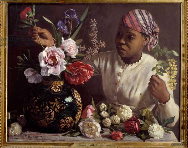 La negresse aux peonines Painting by Frederic Bazille (1841-1870) 1870 Dim. 0,6x0,75 m Montpellier, musee Fabre - The black woman with peonies. Painting by Frederic Bazille (1841-1870), 1870. 0.6 x 0.75 m. Fabre Museum, Montpellier, France
