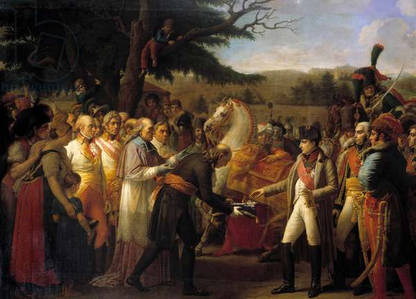 The handover of the keys of Vienna to Napoleon I (1769-1821) The emperor returned to the Austrian capital desertee by Francois II of Habsburg on 14/11/1805. Painting by Anne Louis Girodet de Roucy-Trioson (Anne-Louis Girodet de Roucy Trioson, 1767-1824) 1808 Sun. 3,8x5,3 m Versailles, musee du chateau
