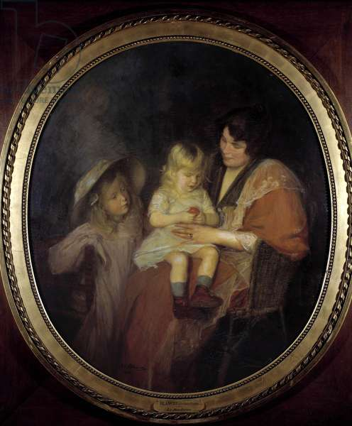 Tangerin A mother and her two children. Painting by Jacques Emile (Jacques-Emile) Blanche (1861-1942) 1898 Sun. 1,4x1,2 m. Paris, Musee du petit Palais