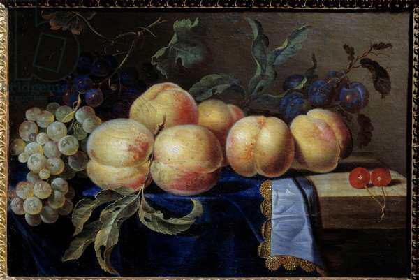 Still life, Peches. Painting by Paul Liegeois (17th century) Sun. 0,31x0,47 m Rouen, musee des Beaux Arts
