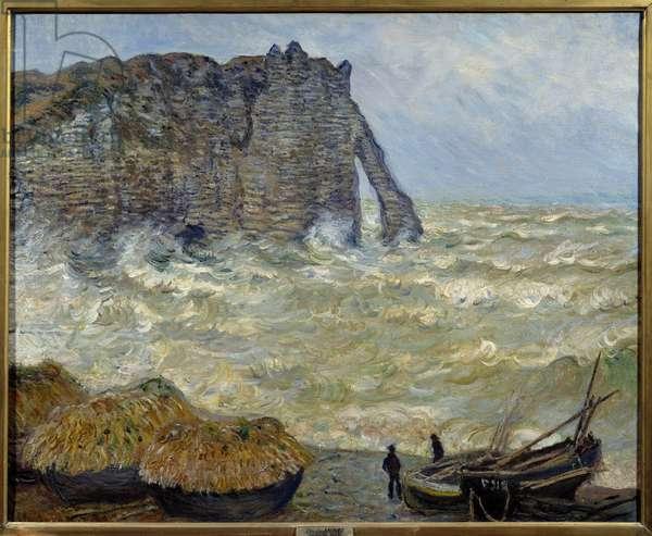 Cliff at Etretat, 1883. 0.81 x 1.00 cm. Painting by Claude Monet (1840-1926). Lyon, Musee des Beaux Arts.