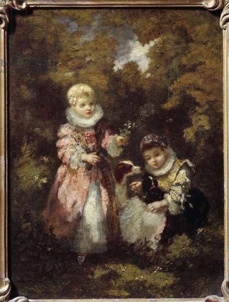 Children and dogs Painting by Narcissus Diaz de la Pena (1807-1876) (ec. de Barbizon) Sun. 0,32x0,24 m
