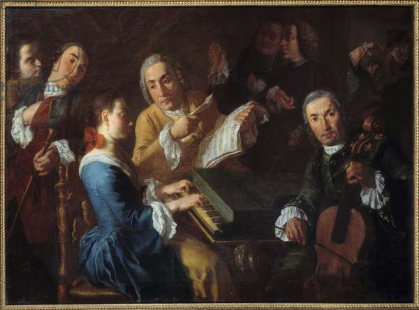 The concert A musician at the harpsichord and a cellist. painting by Gaspare Traversi (1722-1770) 18th century Sun. 0,96x1,3 m Rouen, Musee des Beaux Arts
