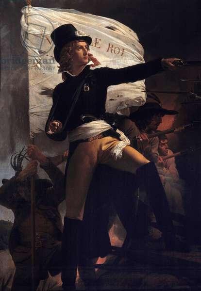 """Portrait en pied de Henri Duverger, Comte de La Rochejaquelein (or Orchard de La Rochejacquelein) (1772-1794) general sold with the flag live le roi"""""""" (on chest the insignia of the Vendees)"""""""" (Wars of Vendee) Painting by Pierre Narcisse (Pierre-Narcisse) Guerin (1774-1833 X 1817 Dim 2,16 1,40 m Cholet, museum of Art and History - Portrait of Henri Duverger, Count of La Rochejaquelein (or Verger de La Rochejacquelein) (1772-1794), Vendeen general with the flag """""""" Live the King"""""""" (insignia on the Vendee)"""" (Wars of Vendee). Painting by Pierre Narcisse (Pierre-Narcisse) Guerin (1774-1833), 1817. 2.16 X 1.40 m. Museum of Art and Hi, Cholet, France"""