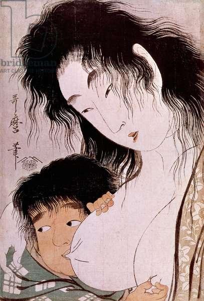 Yamauba and Kintaro: the tetee Japanese print by Utamaro Kitagawa (1753-1806). Sun. 0,37x0,25 m. 1801-1803. Paris, Guimet Museum, National Museum of Asian Arts