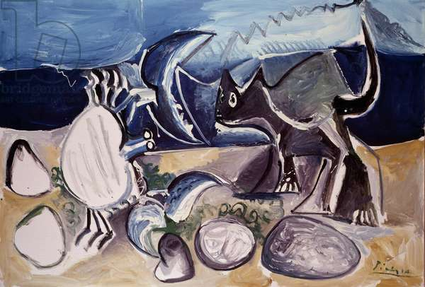 Still Life with Cat and crab, 1965 (oil on canvas)
