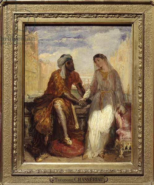 """Othello and Desdemone in Venice Illustration of Act I of the tragedie """""""" Othello"""" by William Shakespeare (1564-1616). Painting by Theodore Chasseriau (1819-1856) 1850 Sun. 0,25 X 0,20 Paris. Musee Du Louvre- Othello and Desdemona in Venice, scene from Otello, by William Shakespeare (1564-1616), oil by Theodore Chasseriau (1819-1856), 1850,"""