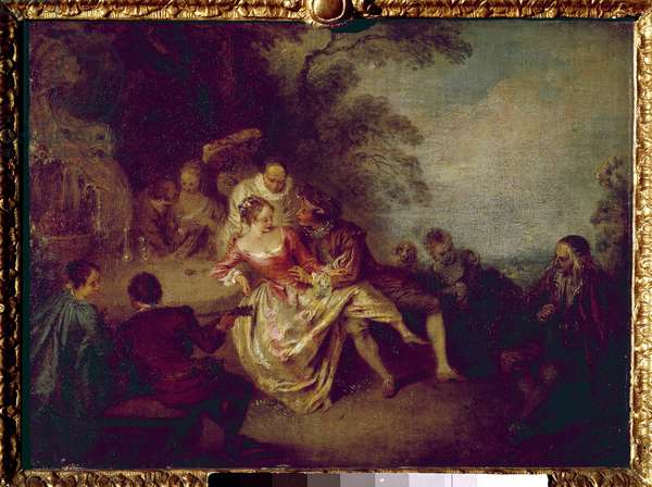 Meeting of Comedians. Painting by Jean Antoine Watteau (1684-1721), 18th century. Musee du Louvre.
