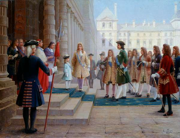 Tsar Pierre Le Grand (1672-1725) welcomed by Louis XV child in Versailles in 1717 - Painting by Gorsky (19th Century), 19th century - Saint Petersburg, Chateau De Peterhof - Tsar Peter the Great (1672-1725) hosted by Louis XV -child- at Versailles in 1717 - Painting by Gorsky (19th Century), 19th century - Peterhof Castle, Saint Peterhof, Russia