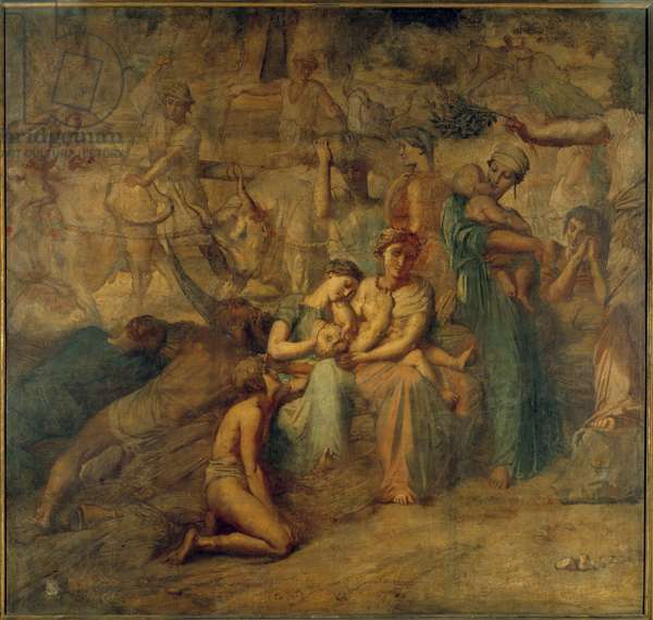 Peace Allegorical representation with mother and child and herds. Painting of the Cour des comptes staircase by Theodore Chasseriau (1819-1856) 19th century Sun. 3,4x3,6 m