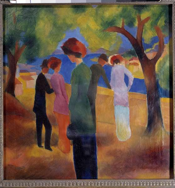 Lady with the Green Jacket Painting by August Macke (1887-1914) 1913 Bonn, Kunstmuseum