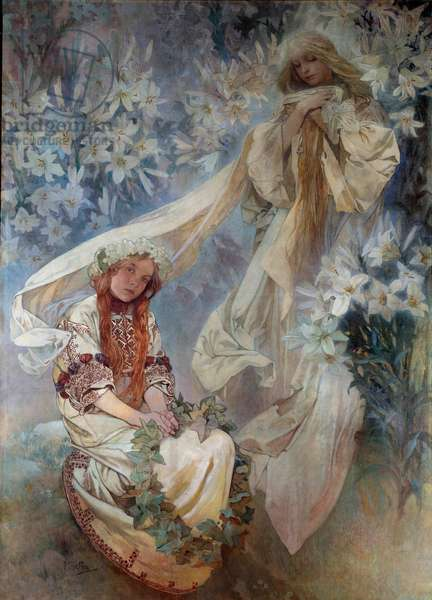 La Madonna au Lys Painting by Alphonse Mucha (1860-1939) 1905 Private Collection
