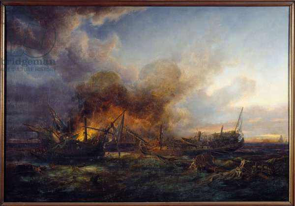 Combat of the Supervisor and Quebec in 1779 Painting by Pierre Gilbert (1783-1860) 1779 Brest, Musee des Beaux Arts