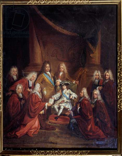 King Louis XV (1710-1774) child granting letters of nobility to the city body in 1716 Painting by Louis Boullogne the Jeune (1654-1733) 1716 Sun. 0,66x0,55 m Paris, Musee Carnavalet
