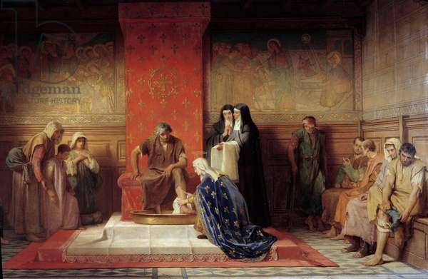 Saint Elisabeth of France (sister of Saint Louis) washing the feet of the poor Painting by Desire Laugee (1823-1896) 1865, 133x265 cm, Rouen, Musee des Beaux Arts - St. Elizabeth of France washing the feet of the Poor. Painting by Desire Laugee (1823-1896), 1865. Beaux-Arts Museum, Rouen, France