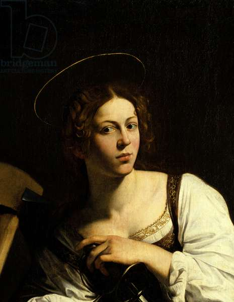 """Detail of """""""" Portrait of St. Catherine of Alexandria"""""""" Painting by Michelangelo Merisi called The Caravaggio or il Caravaggio (1571-1610). 16th century. Madrid. Thyssen Bornemisza Museum."""