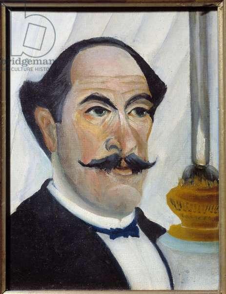 Self Portrait with Lamp Painting by Henri Rousseau dit Le Douanier Rousseau (1844-1910) 1902 Sun. 0,23x0,19 m Paris, Musee Picasso
