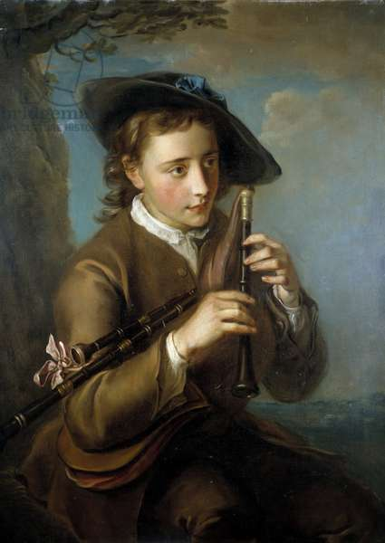 The bagpipe player Painting of the French School. 18th century Paris, Louvre Museum