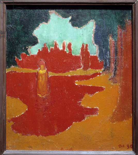 Sunspots on the terrace. Painting by Maurice Denis (1870-1943), 1890. Oil on cardboard. Dim: 0,24 x 0,20m. Paris, Musee d'Orsay.