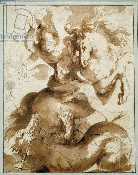 Saint George killing the dragon. Drawing by Pierre Paul (Pierre-Paul) Rubens (or Peter Paul or Petrus Paulus) (1577-1640) Ec. Flam., 17th century. Feather, ink and wash 0.33 X 0.26m. Paris, Musee Du Louvre