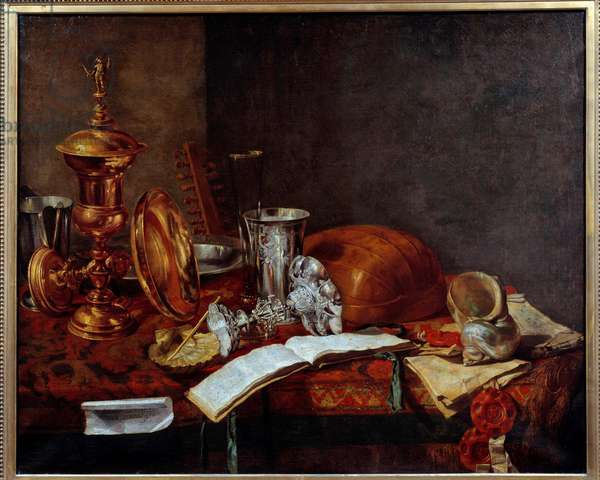 Still Life with Art Objects (Copper Cup, silverware, lute) Painting by Franz (Frans) Ryckhals (1600-1647) 17th century Dunkirk, Musee des Beaux Arts