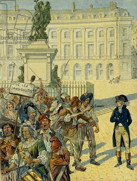 French Revolution 1789: Napoleon I Bonaparte (1769-1821) threatened by the crowd of the panties (without panties) on 10 August 1792 near the Statue of Louis XIV (1638-1715) by Desjardins before it was overthrown, Place des Victoires in Paris. Illustration by Jacques Marie Gaston Onfray de Breville dit JOB (1858-1931), 1910. Private Collection