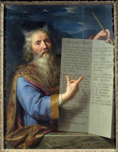 Moses and the tables of the Act. Painting by Philippe De Champaigne (1602-1674) Ec. Flam., 1663. Oil on canvas. Amiens, Musee De Picardie