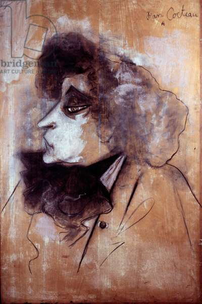 Portrait of the French writer Colette (1873-1954) Drawing around 1950 by Jean Cocteau (1889-1963). Private collection
