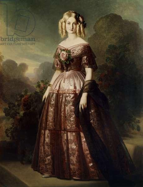 Portrait en pied de Marie Caroline Auguste de Bourbon Salerne, Duchess d'Aumale (1822-1869) Painting by Franz Xaver Winterhalter (1806-1873) 19th century Sun. 2,18x1,42 m
